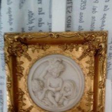 Arte: CUADRO-MEDALLON EN PAN DE ORO Y MARMOL HECHO A MANO. Lote 170407484