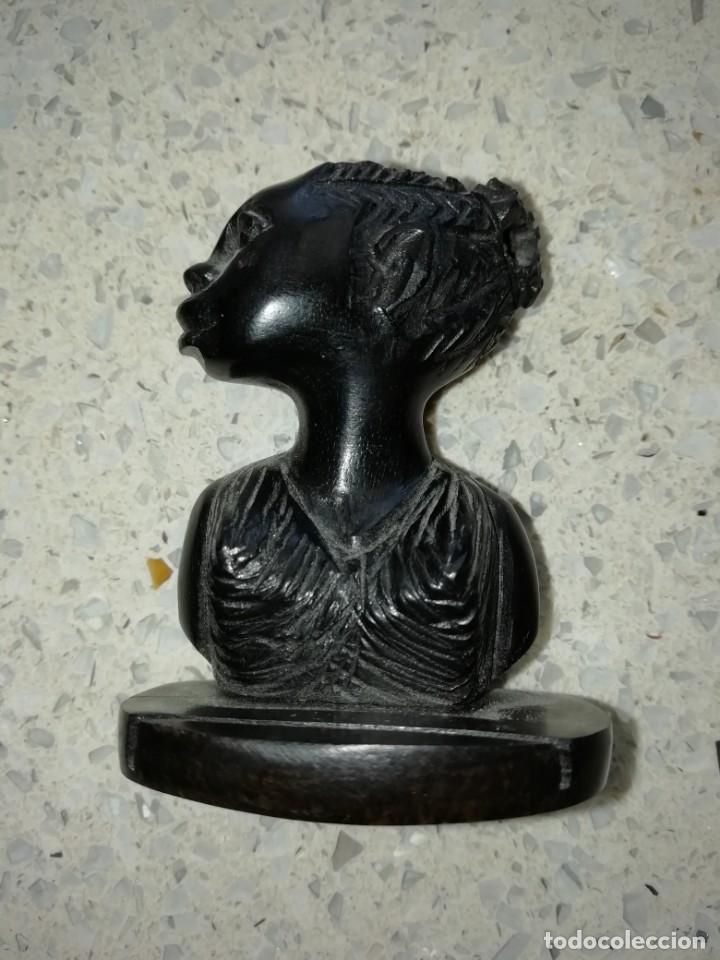 TALLA BUSTO DE AFRICANA TALLADA EN MADERA 5,50 CMS ALTURA (Arte - Escultura - Madera)