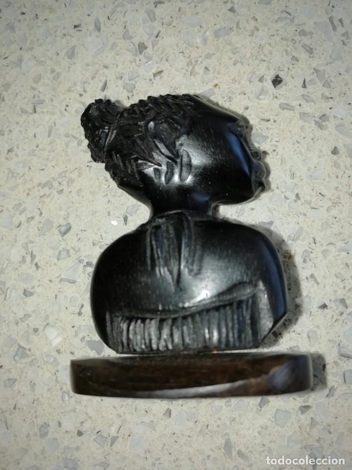 Arte: talla busto de africana tallada en madera 5,50 cms altura - Foto 2 - 170434124