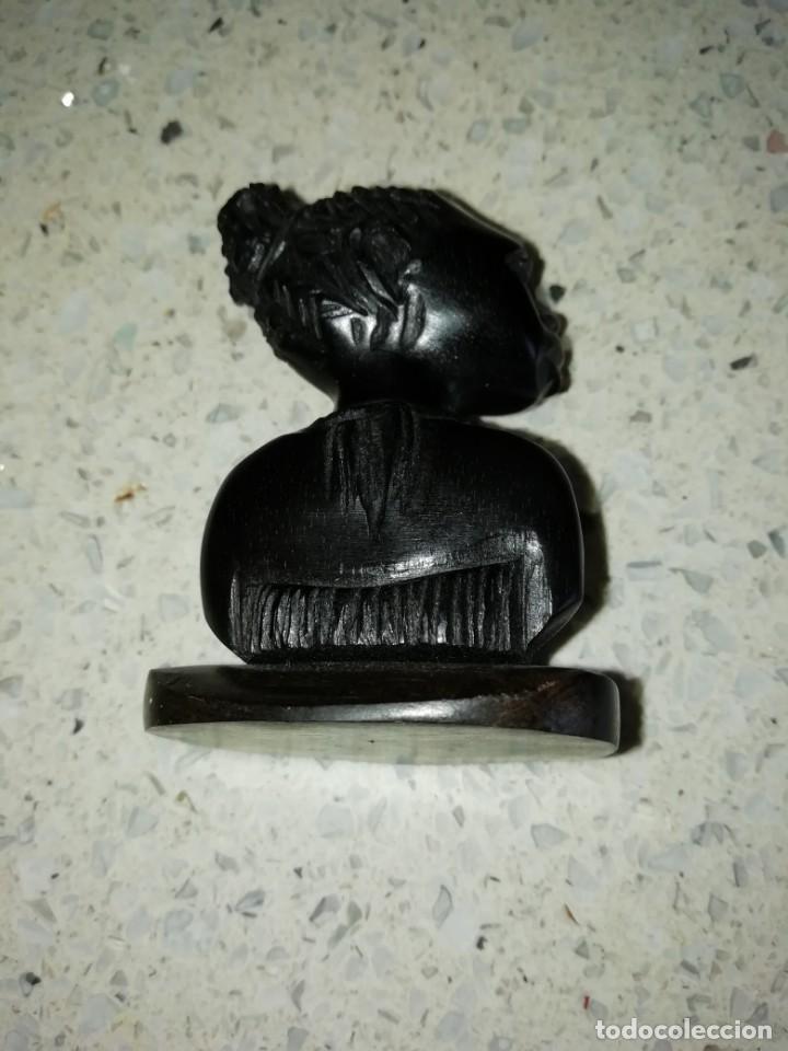 Arte: talla busto de africana tallada en madera 5,50 cms altura - Foto 5 - 170434124