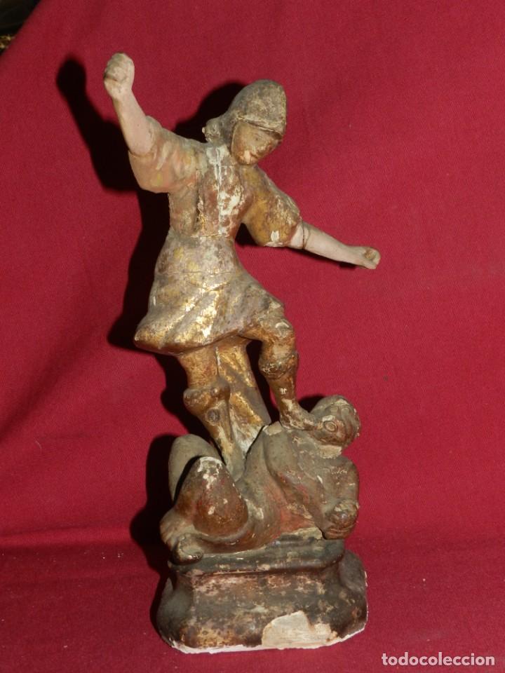 Arte: (M) Talla de Madera Imagen de San Miguel Arcángel S.XVII - 28 x 14 cm, Ver Fotografias Adicionales - Foto 2 - 171016982