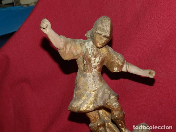 Arte: (M) Talla de Madera Imagen de San Miguel Arcángel S.XVII - 28 x 14 cm, Ver Fotografias Adicionales - Foto 4 - 171016982