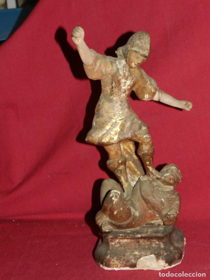 Arte: (M) Talla de Madera Imagen de San Miguel Arcángel S.XVII - 28 x 14 cm, Ver Fotografias Adicionales - Foto 6 - 171016982
