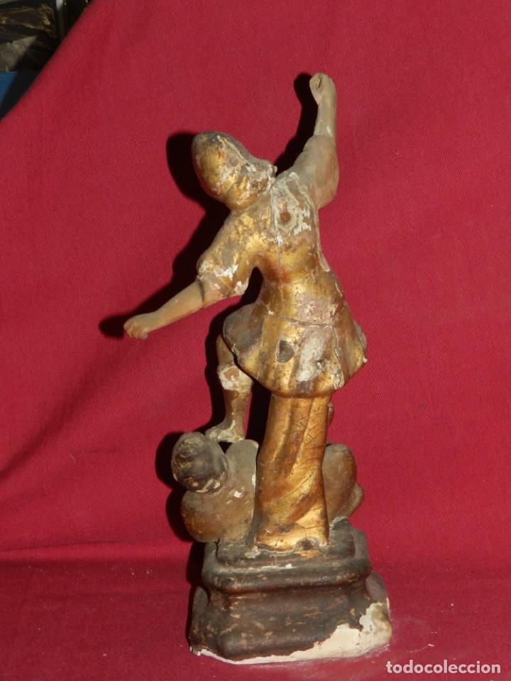 Arte: (M) Talla de Madera Imagen de San Miguel Arcángel S.XVII - 28 x 14 cm, Ver Fotografias Adicionales - Foto 8 - 171016982