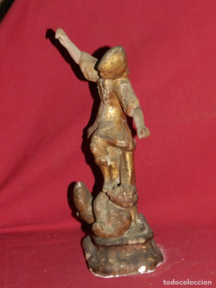 Arte: (M) Talla de Madera Imagen de San Miguel Arcángel S.XVII - 28 x 14 cm, Ver Fotografias Adicionales - Foto 9 - 171016982