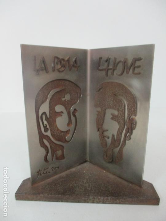 Arte: Escultura Hierro y Acero Inox - Firma Domenech Fita Molat (Girona 1927) - L´Home, La Dona - Foto 6 - 171116932
