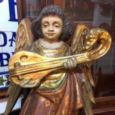 Arte: ANTIGUO ANGEL TALLA MADERA SIGLO XIX ESTOFADO Y ORO FINO - MEDIDA 50X40 CM - RELIGIOSO. Lote 171522512