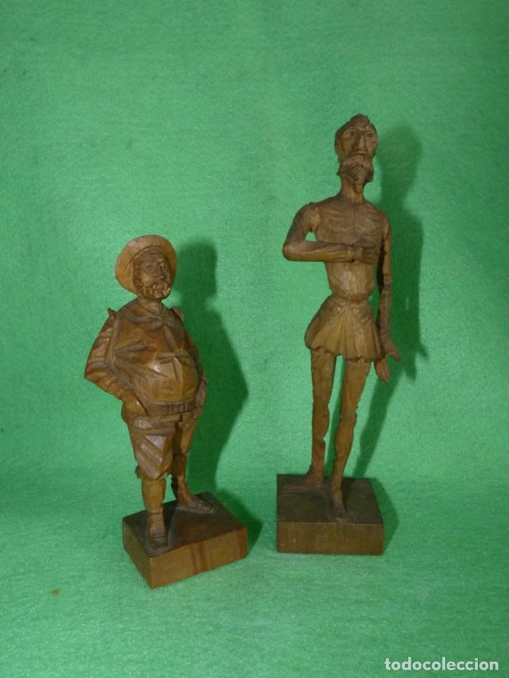 GENIAL PAREJA DON QUIJOTE Y SANCHO PANZA FIGURA TALLA MADERA ESCULTURA VINTAGE 60 (Arte - Escultura - Madera)