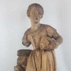 Arte: FUENTE DE TERRACOTA. NIÑA TOCANDO ZAMBOMBA. ESTILO ROCOCO. FRANCIA. SIGLO XVIII-XIX.. Lote 171989873