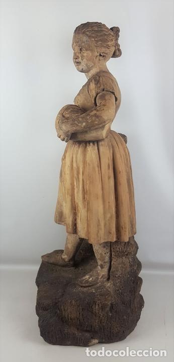 Arte: FUENTE DE TERRACOTA. NIÑA TOCANDO ZAMBOMBA. ESTILO ROCOCO. FRANCIA. SIGLO XVIII-XIX. - Foto 12 - 171989873