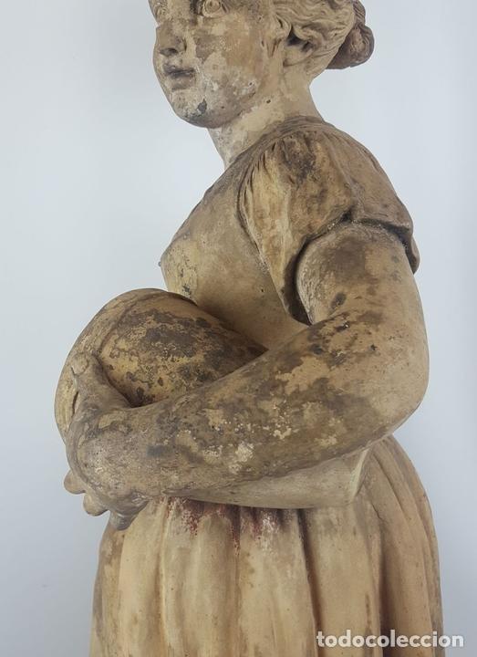 Arte: FUENTE DE TERRACOTA. NIÑA TOCANDO ZAMBOMBA. ESTILO ROCOCO. FRANCIA. SIGLO XVIII-XIX. - Foto 14 - 171989873