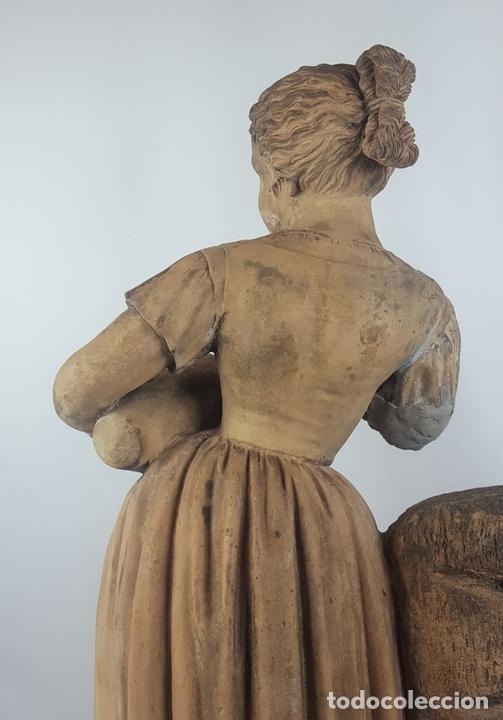 Arte: FUENTE DE TERRACOTA. NIÑA TOCANDO ZAMBOMBA. ESTILO ROCOCO. FRANCIA. SIGLO XVIII-XIX. - Foto 16 - 171989873