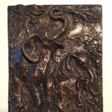 Arte: JILL COWIE SANDERS - RELIEVE EN BRONCE - ELEFANTES. Lote 172190914