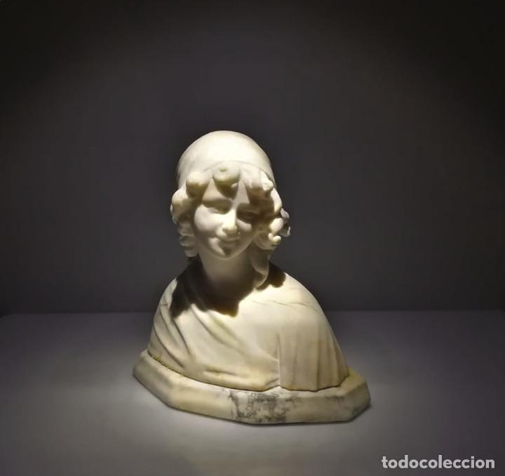 Arte: Antiguo Busto tallado en Alabastro Firmado - Foto 2 - 173024634