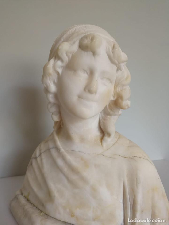 Arte: Antiguo Busto tallado en Alabastro Firmado - Foto 6 - 173024634