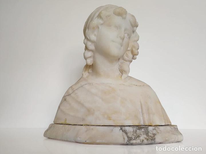 Arte: Antiguo Busto tallado en Alabastro Firmado - Foto 7 - 173024634