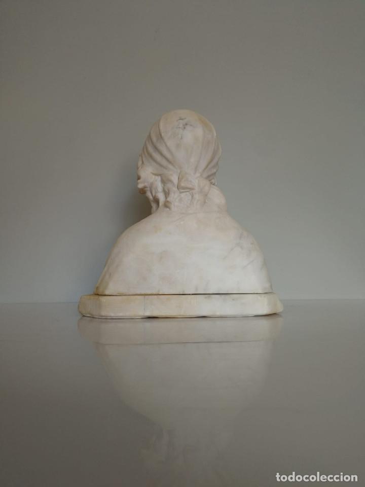 Arte: Antiguo Busto tallado en Alabastro Firmado - Foto 8 - 173024634