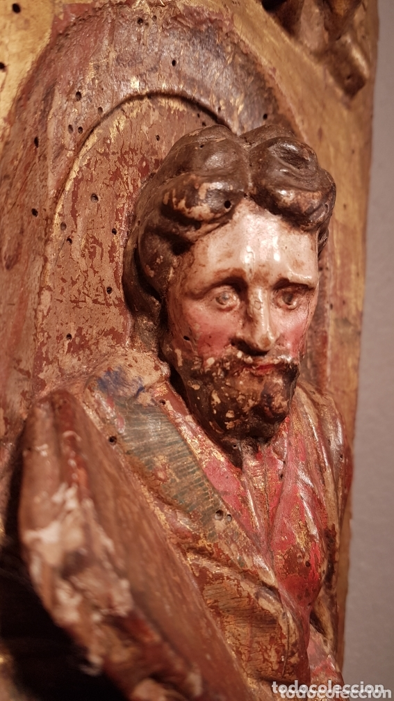 Arte: Relieve Escuela Castellana siglo XVI de evangelista con policromía original en excelente estado de c - Foto 3 - 173682569