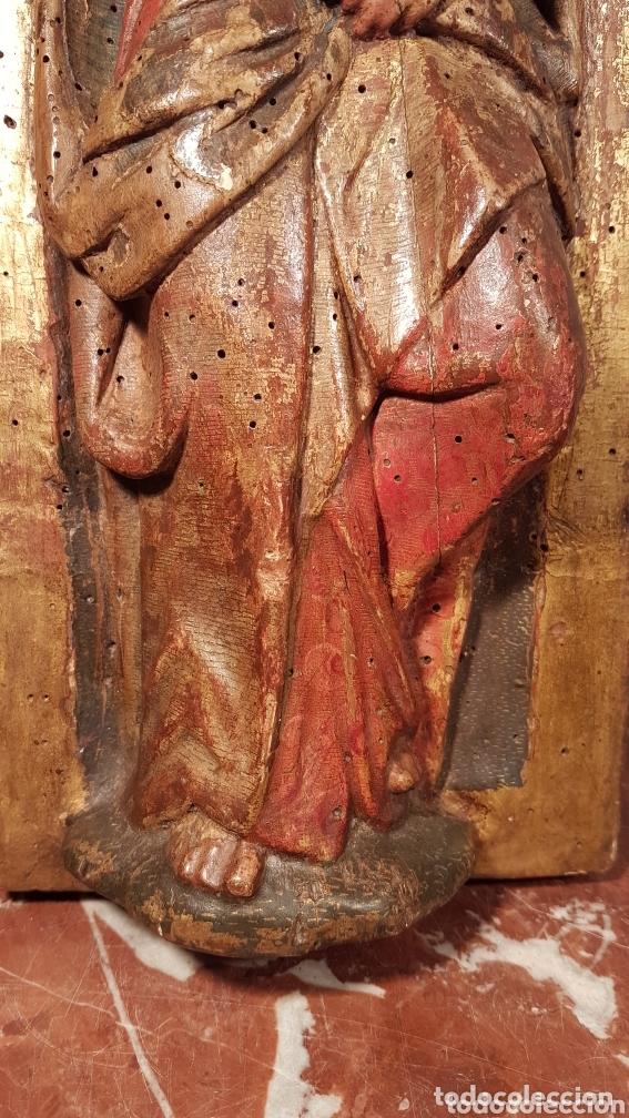 Arte: Relieve Escuela Castellana siglo XVI de evangelista con policromía original en excelente estado de c - Foto 5 - 173682569