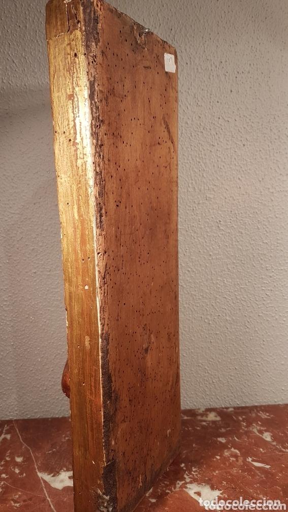 Arte: Relieve Escuela Castellana siglo XVI de evangelista con policromía original en excelente estado de c - Foto 9 - 173682569