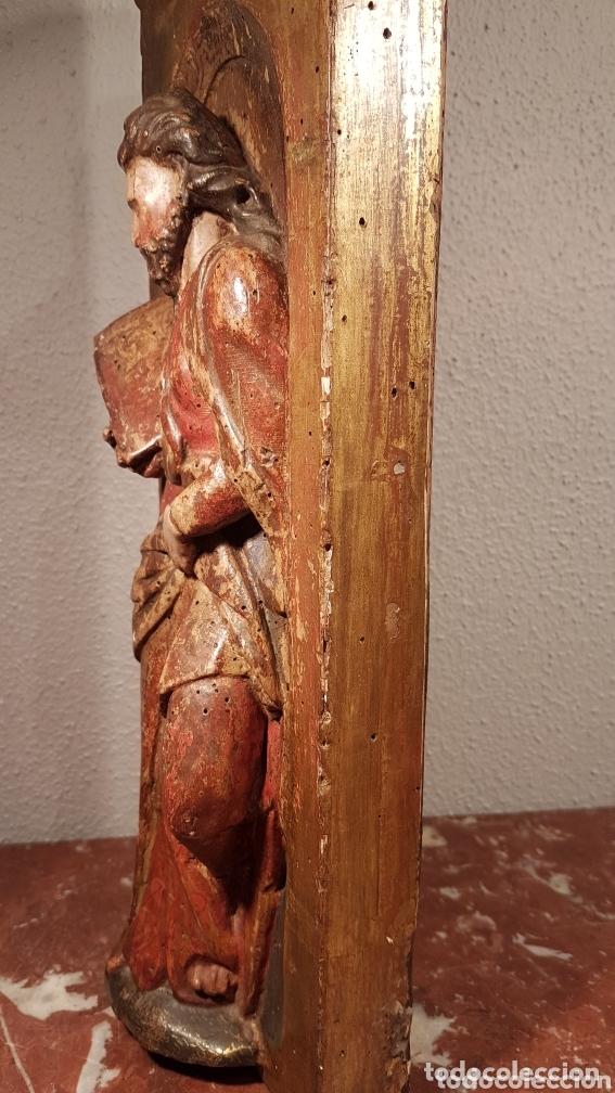Arte: Relieve Escuela Castellana siglo XVI de evangelista con policromía original en excelente estado de c - Foto 10 - 173682569