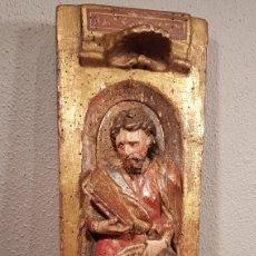 Arte: RELIEVE ESCUELA CASTELLANA SIGLO XVI DE EVANGELISTA CON POLICROMÍA ORIGINAL EN EXCELENTE ESTADO DE C. Lote 173682569
