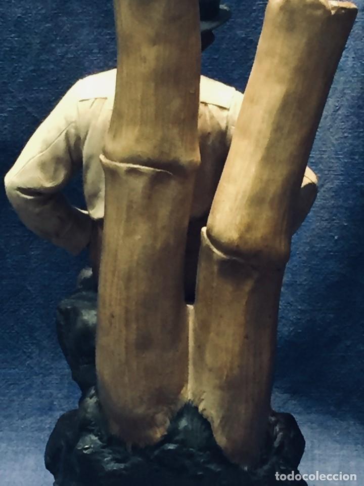 Arte: escultura terracota chico negro color americano sombrero copa sentado firma goldscheider austria 37c - Foto 15 - 173715164
