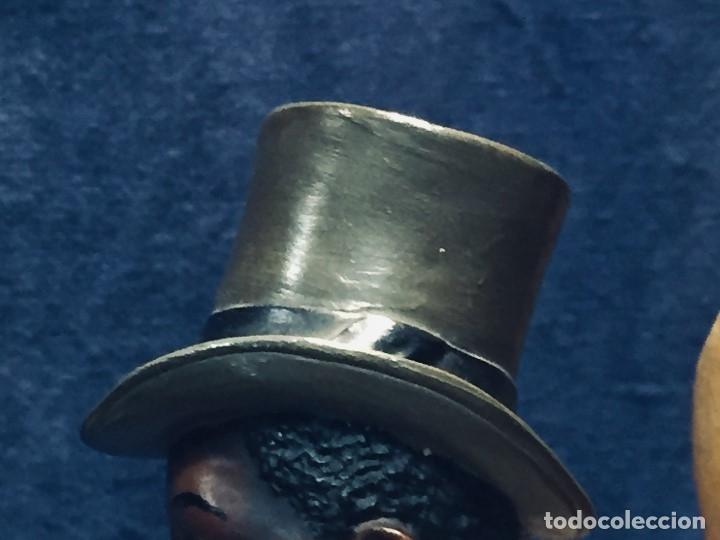 Arte: escultura terracota chico negro color americano sombrero copa sentado firma goldscheider austria 37c - Foto 7 - 173715164