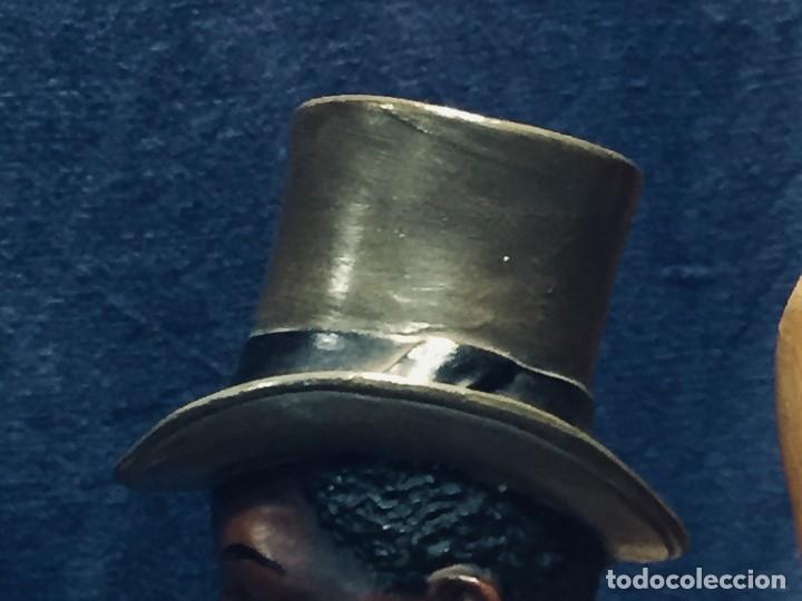 Arte: escultura terracota chico negro color americano sombrero copa sentado firma goldscheider austria 37c - Foto 8 - 173715164