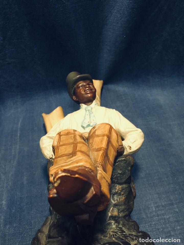 Arte: escultura terracota chico negro color americano sombrero copa sentado firma goldscheider austria 37c - Foto 28 - 173715164