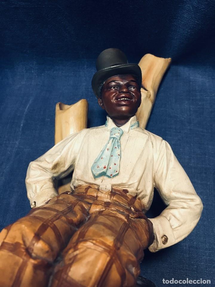 Arte: escultura terracota chico negro color americano sombrero copa sentado firma goldscheider austria 37c - Foto 4 - 173715164