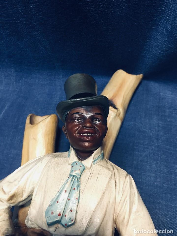 Arte: escultura terracota chico negro color americano sombrero copa sentado firma goldscheider austria 37c - Foto 62 - 173715164