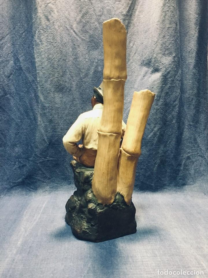 Arte: escultura terracota chico negro color americano sombrero copa sentado firma goldscheider austria 37c - Foto 65 - 173715164