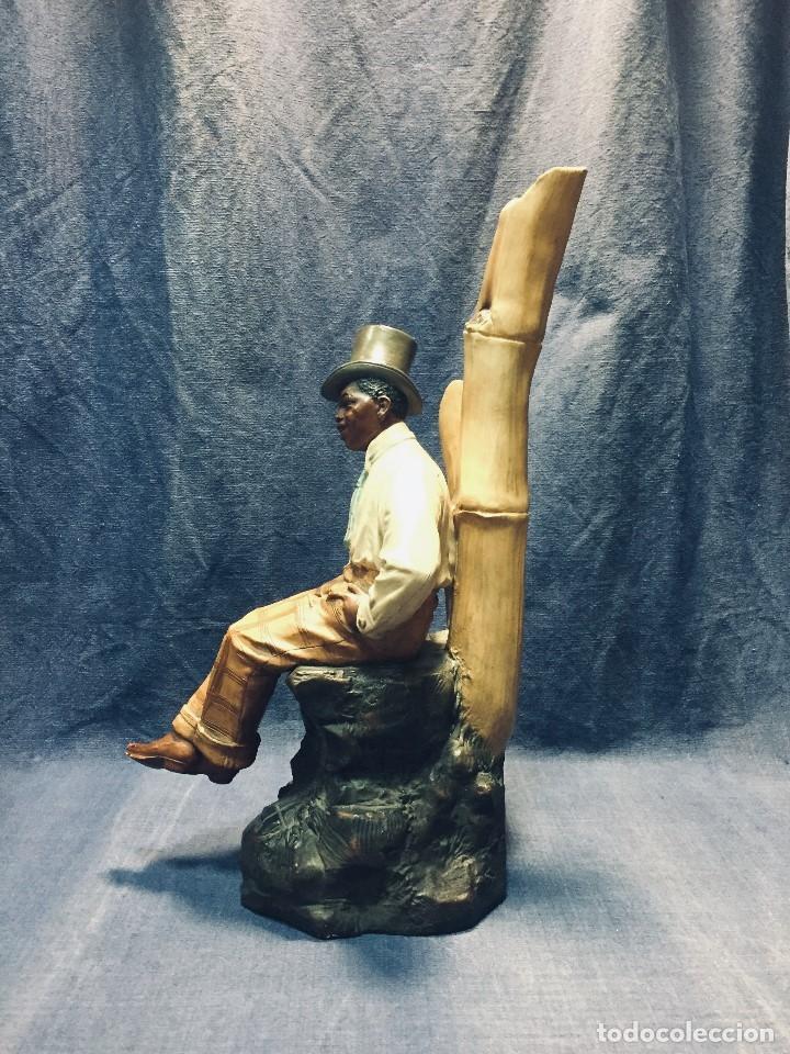 Arte: escultura terracota chico negro color americano sombrero copa sentado firma goldscheider austria 37c - Foto 66 - 173715164