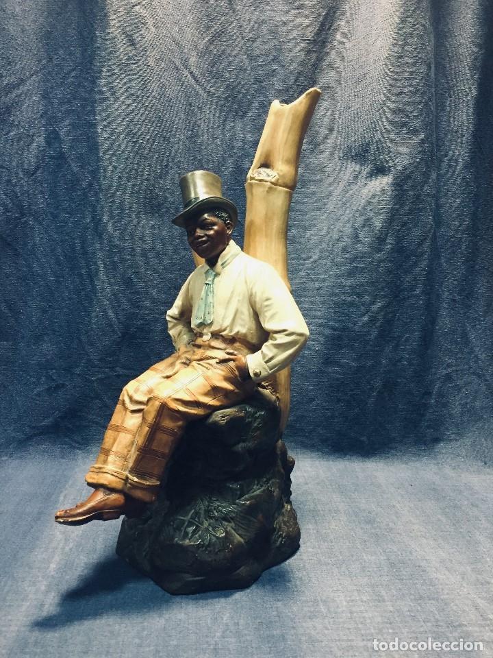 Arte: escultura terracota chico negro color americano sombrero copa sentado firma goldscheider austria 37c - Foto 53 - 173715164