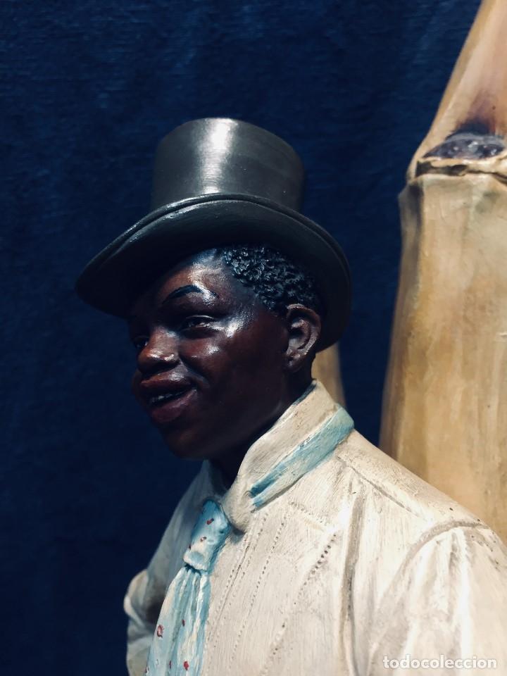 Arte: escultura terracota chico negro color americano sombrero copa sentado firma goldscheider austria 37c - Foto 67 - 173715164
