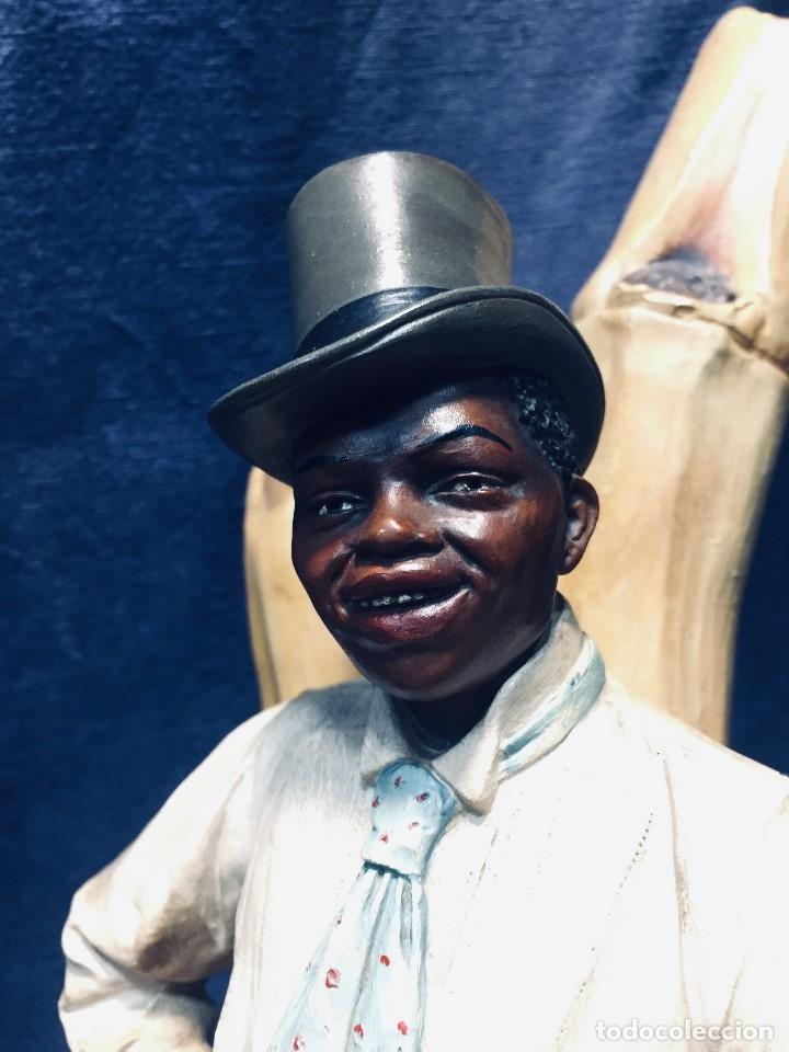 Arte: escultura terracota chico negro color americano sombrero copa sentado firma goldscheider austria 37c - Foto 68 - 173715164
