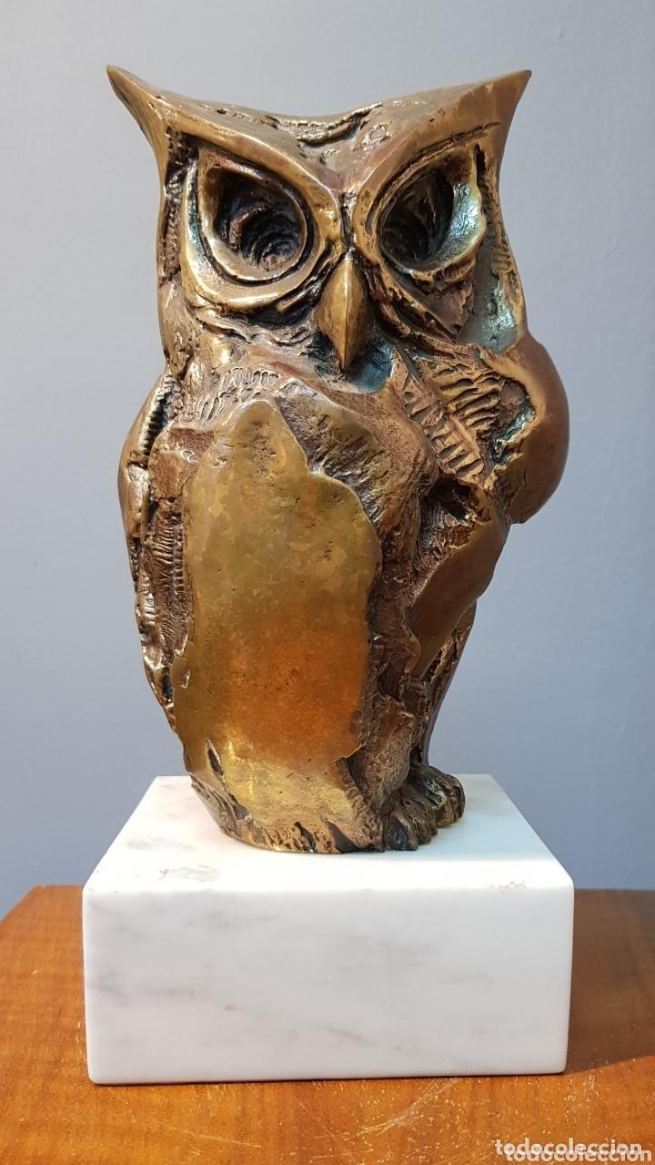 Arte: Aurelio Teno, magnifica escultura en bronce, Búho, firmada. - Foto 2 - 174181460