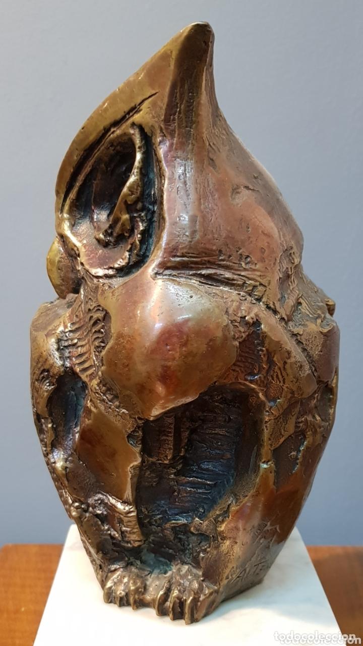 Arte: Aurelio Teno, magnifica escultura en bronce, Búho, firmada. - Foto 3 - 174181460