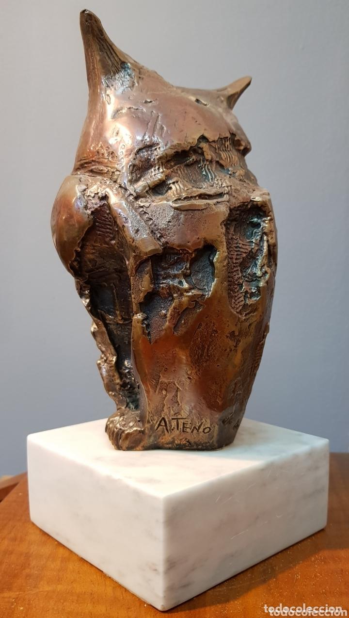 Arte: Aurelio Teno, magnifica escultura en bronce, Búho, firmada. - Foto 4 - 174181460