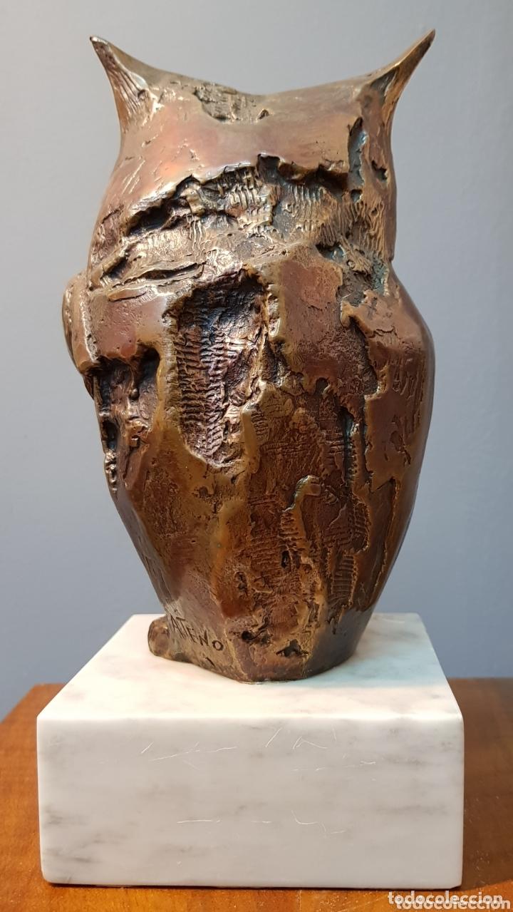 Arte: Aurelio Teno, magnifica escultura en bronce, Búho, firmada. - Foto 5 - 174181460