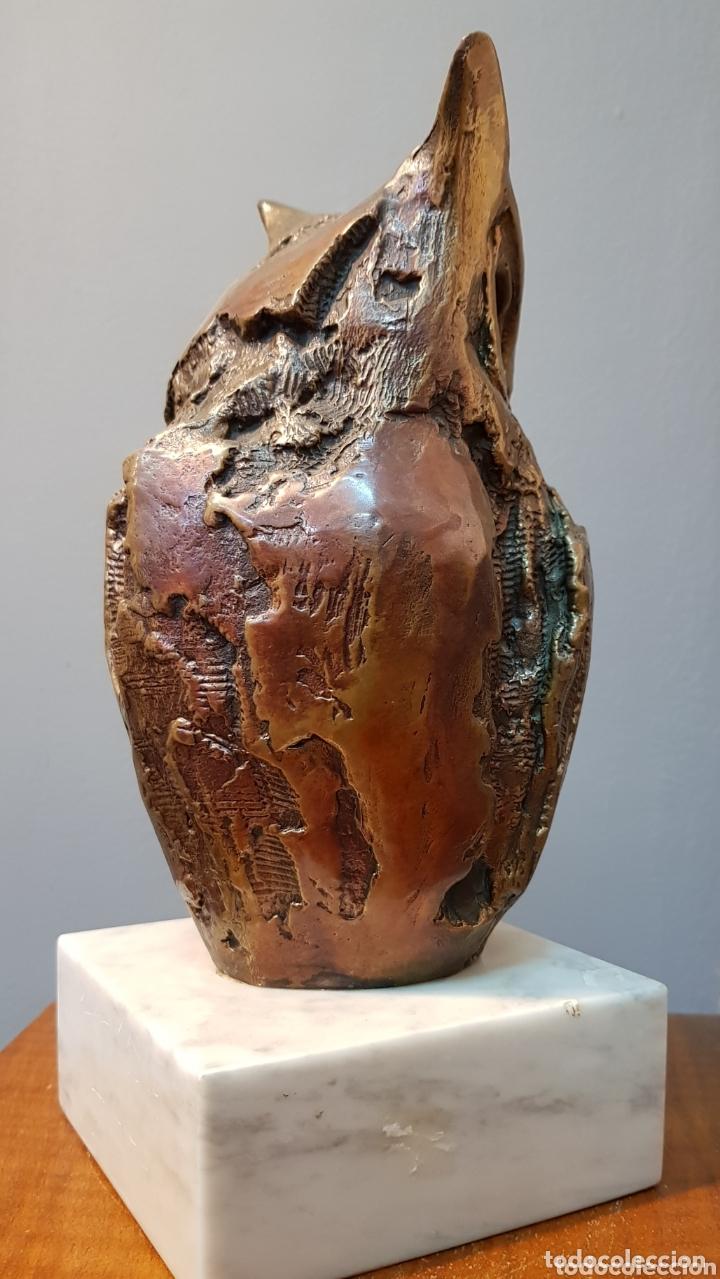 Arte: Aurelio Teno, magnifica escultura en bronce, Búho, firmada. - Foto 6 - 174181460