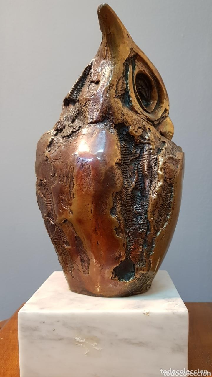 Arte: Aurelio Teno, magnifica escultura en bronce, Búho, firmada. - Foto 7 - 174181460