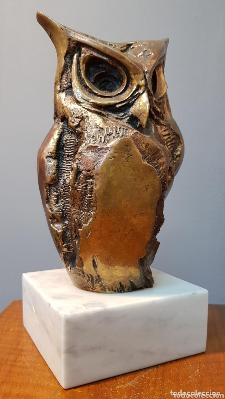 Arte: Aurelio Teno, magnifica escultura en bronce, Búho, firmada. - Foto 8 - 174181460