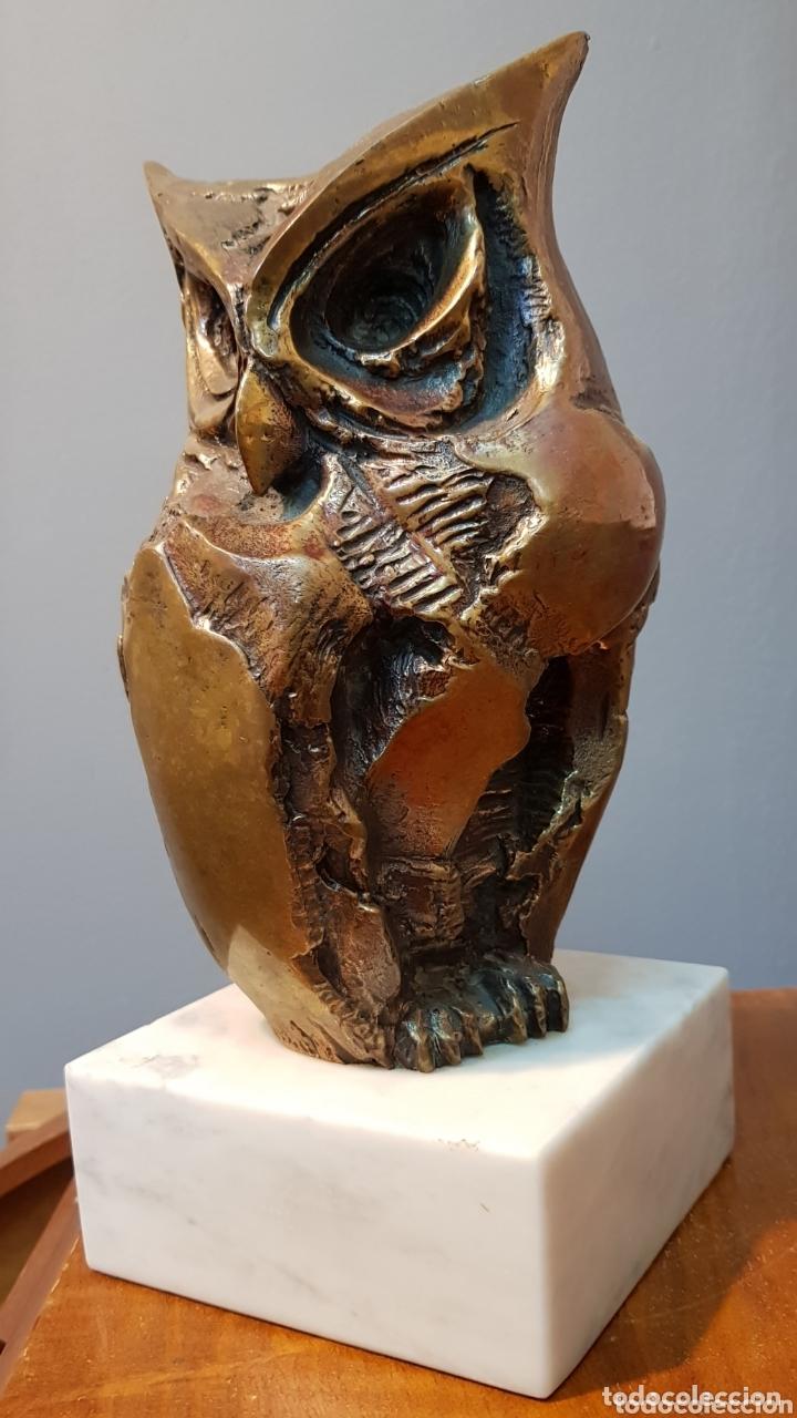 AURELIO TENO, MAGNIFICA ESCULTURA EN BRONCE, BÚHO, FIRMADA. (Arte - Escultura - Bronce)
