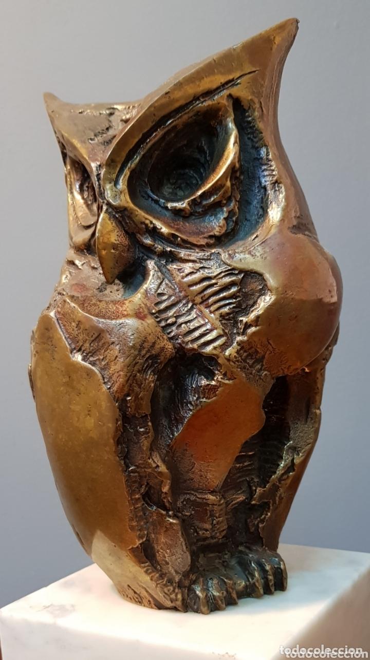 Arte: Aurelio Teno, magnifica escultura en bronce, Búho, firmada. - Foto 9 - 174181460