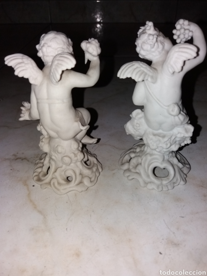 Arte: Pareja de esculturas angeles, año 1850 de Biscuit firmada - Foto 3 - 174522892