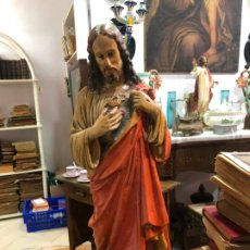 Arte: ANTIGUA IMAGEN CORAZON DE JESUS REALIZADA EN TERRACOTA - MEDIDA 48 CM - RELIGIOSO. Lote 174979945