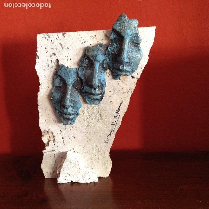 ESCULTURA PIEDRA Y BRONCE.FIRMADA. (Arte - Escultura - Bronce)