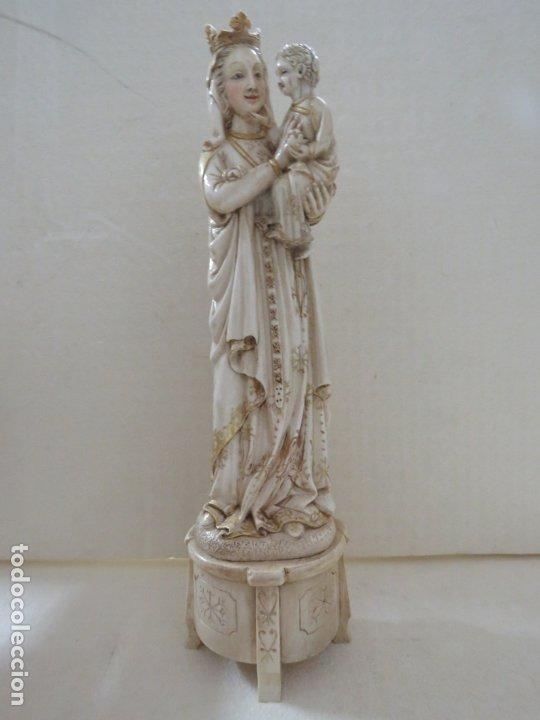 Arte: FANTASTICA TALLA DE LA VIRGEN CON NIÑO JESUS EN MARFIL Y PAN DE ORO,DE FINALES SIGLO XVIII, 35,5 CMS - Foto 4 - 175409664